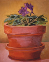 African Violet, Oil on Canvas