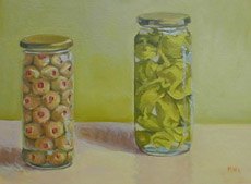 Olives and Peppers, Oil on Canvas