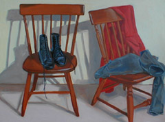 Still Life With Clothes and Boots, Oil on Canvas