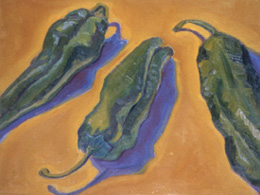 Three Peppers, Oil on Canvas