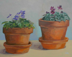 Two African Violets, Oil on Canvas