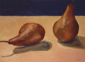 Two Pears, Oil on Canvas