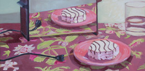 Zebra Cake Reflection, Oil on Canvas